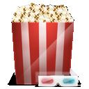3d, Cinema, Glasses, Popcorn Icon