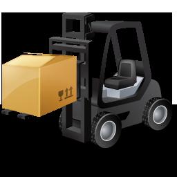 Black, Forklifttruck, Loaded Icon