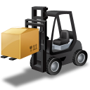 Black, Forklifttruck, Loaded Icon