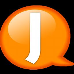 Balloon, j, Orange, Speech Icon