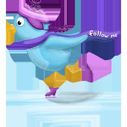 Follow, Me, Skating, Winter Icon