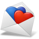 Bluered, Hearts, Mailenvelope Icon
