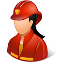 Female, Firefighter, Light Icon
