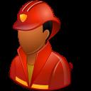 Dark, Firefighter, Male Icon
