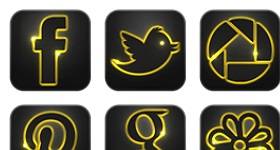 Neon Glow Social Icons
