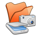, &Amp, Cameras, Folder, Orange, Scanners Icon