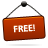 Free, Red, Sign Icon
