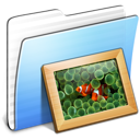 Aqua, Folder, Pictures, Stripped Icon