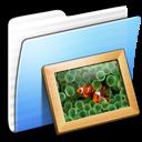 Aqua, Folder, Pictures, Stripped Icon
