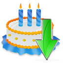Birthday, Cake, Down Icon