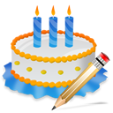 Birthday, Cake, Write Icon