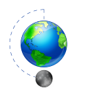 Earth, Full, Moon, Phase Icon