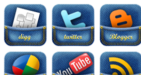 Jeans Pocket Social Media Icons