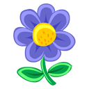 Blue, Flower Icon