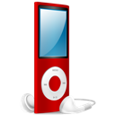 Ipod, Nano, On, Red Icon
