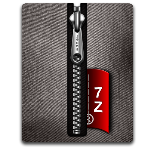 7z, Black, Silver Icon