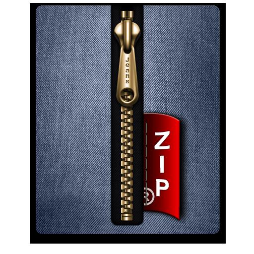 Blue, Gold, Zip Icon