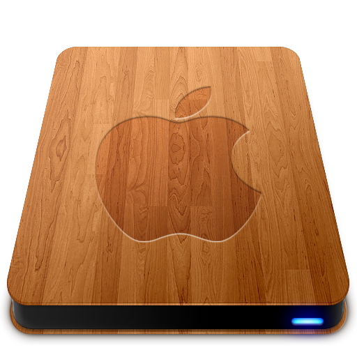 Apple, Drives, Slick, Wooden Icon