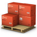 Boxes, Cargo, Red Icon