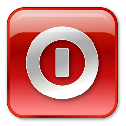 Box, Red, Shutdown Icon