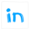 Linkedin, White Icon