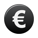 Black, Currency, Euro Icon