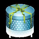 Blue, Box, Gift, Round Icon