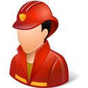 Firefighter, Light, Male Icon