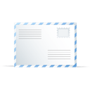 Blue, Envelope, White Icon