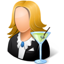 Bartender, Female, Light Icon