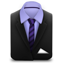 And, Purple, Stripes, Suit, Tie Icon