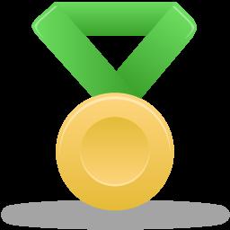 Gold, Green, Metal Icon