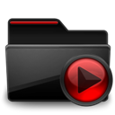 Black, Folder, Media, Red Icon