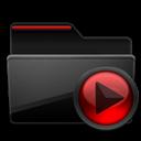 Black, Folder, Media, Red Icon
