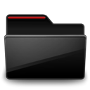 Black, Folder, Red Icon