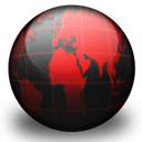 Black, Globe, Red Icon