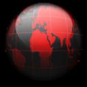 Black, Globe, Red Icon