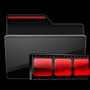 Black, Folder, Red, Video Icon