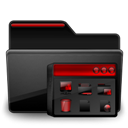 Black, Folder, Group, Program, Red Icon