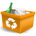 Bin, Garbage, New, Orange, Recycle, Trashcan Icon