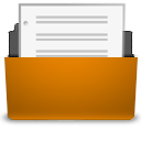 Document, Open, Orange Icon
