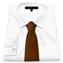 Brown, Shirt, Tie, White Icon