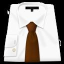 Brown, Shirt, Tie, White Icon