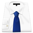 Blue, Clothes, Shirt, Tie, White Icon