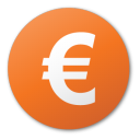 Currency, Euro, Red Icon