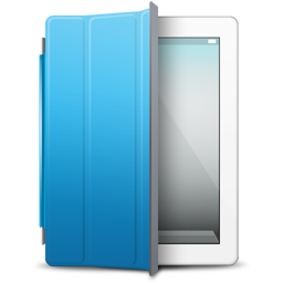 Blue, Cover, Ipad, White Icon