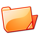 Folder, Open, Orange Icon