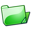 Folder, Green, Open Icon