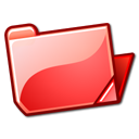 Folder, Open, Red Icon