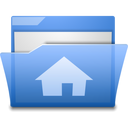 Blue, Folder, Home, House, Open Icon